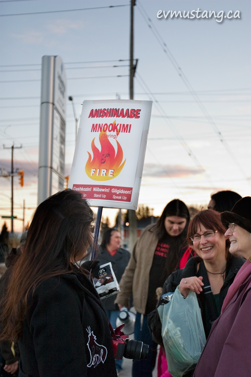 image of protesters, idle no more, peterborough