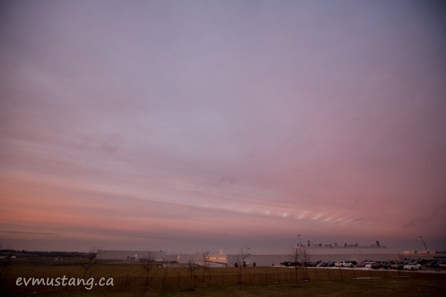image of sunset over woodstock ontario toyota plant