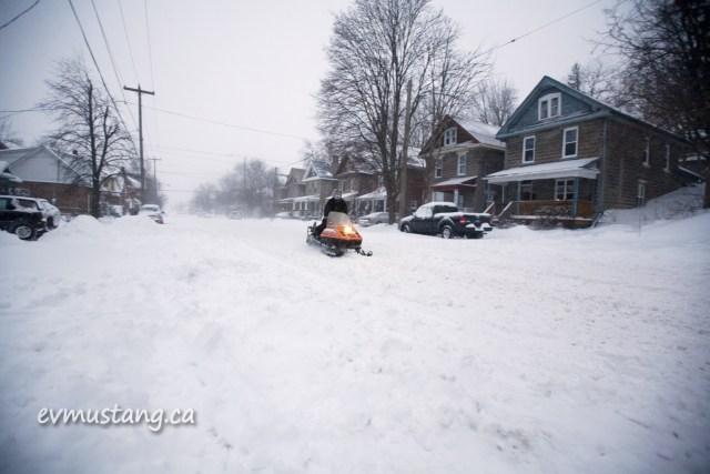 image of snowmobile on urban bethune street
