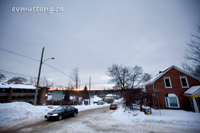 image of sunset in winter from dublin street, peterborough