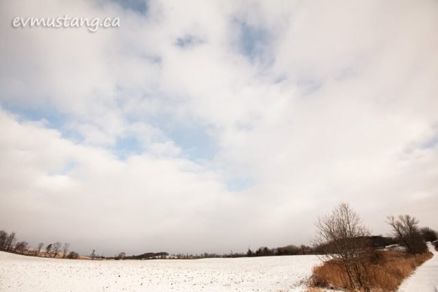 image of field with light dusting of new snow
