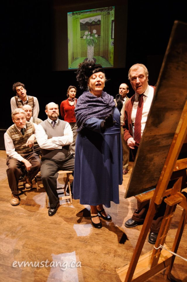 image of cast of pitmen painters, new stages production, market hall, peterborough