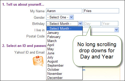 yahoo day and year entry