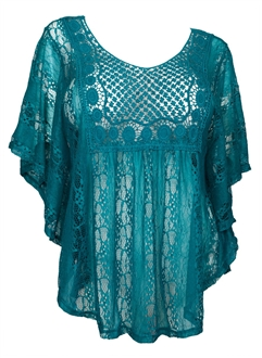 Plus Size Crochet Poncho Top Teal EVogues Apparel