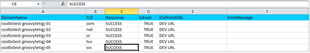 Output Sheet Success - data driven testing