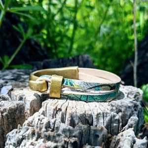 bracelet demi jonc bronze fruit du cerisier nuances bleutées evolbijoux (1)
