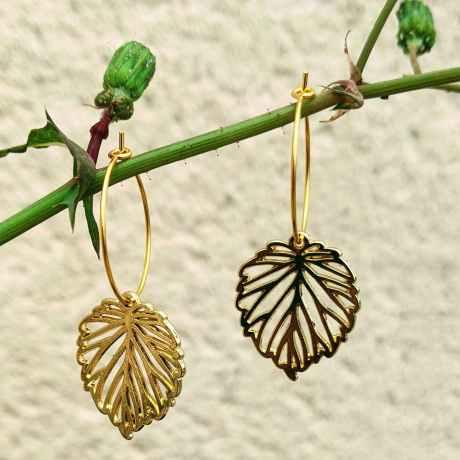 Petites créoles dorées feuilles evolbijoux (1)