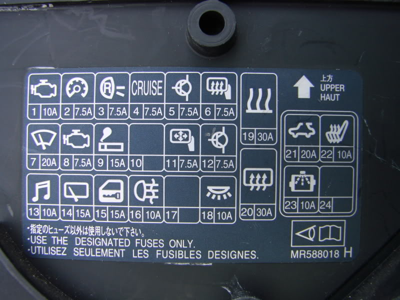 2001 Mitsubushi Lancer Rally Compartment Fuse Box Diagram