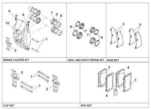 Brembo rebuild kit  diagram  EvolutionM  Mitsubishi