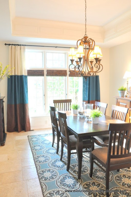 Dining Room with Banded Drapes