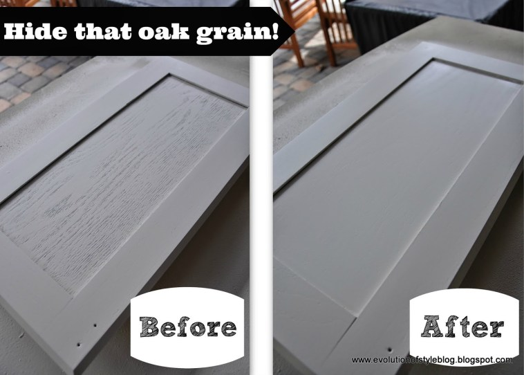 Hide the Oak Grain when Painting Kitchen Cabinets!