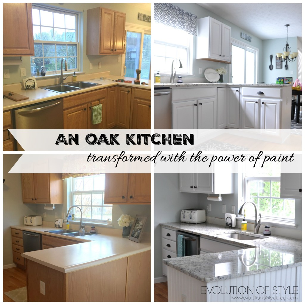 Painted Oak Kitchen Before-After