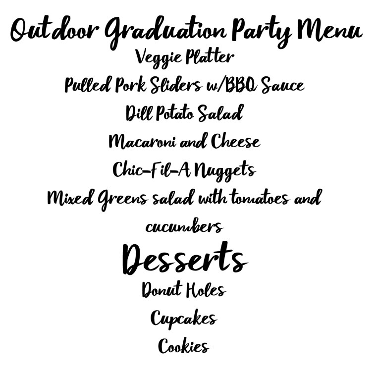 Graduation Party Menu