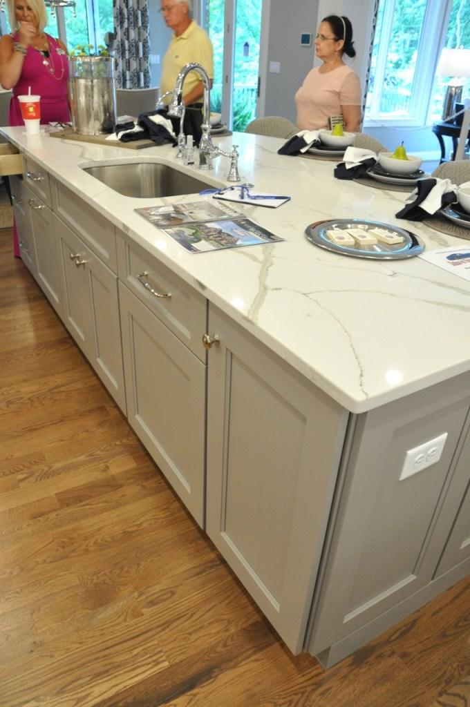 White Custom Kitchen with Gray Island