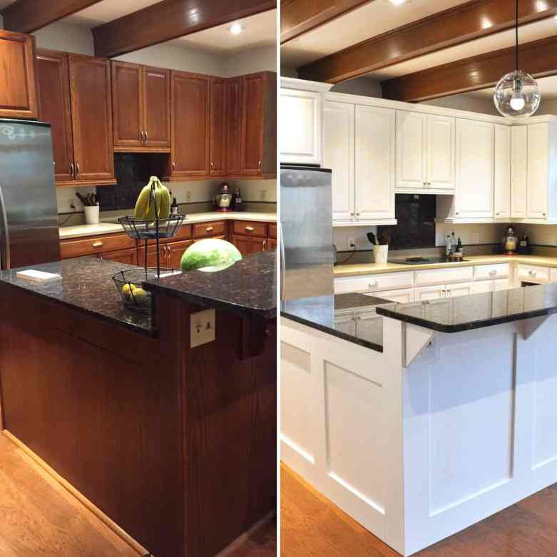 Before-After Oak Kitchen