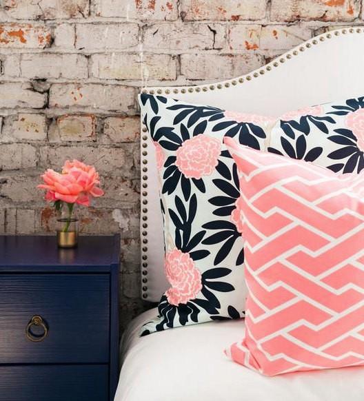 Navy and Blush Pillows