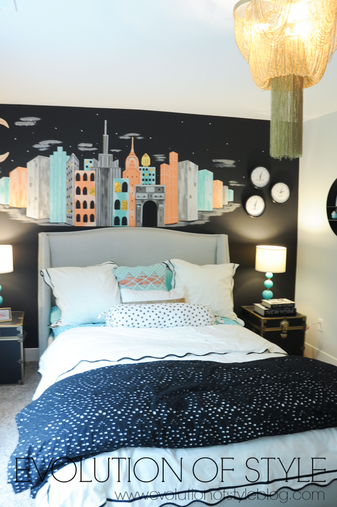 Bedroom with mural
