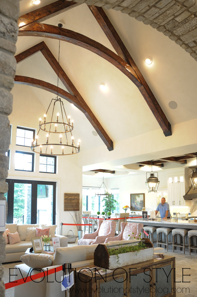 Beamed ceiling in modern farmhouse
