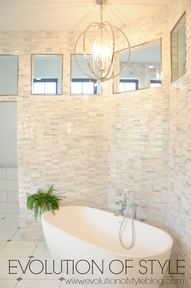 Modern farmhouse master bathroom with bathtub
