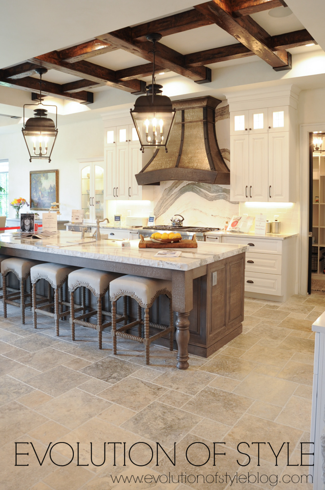 Modern farmhouse white kitchen with wood island