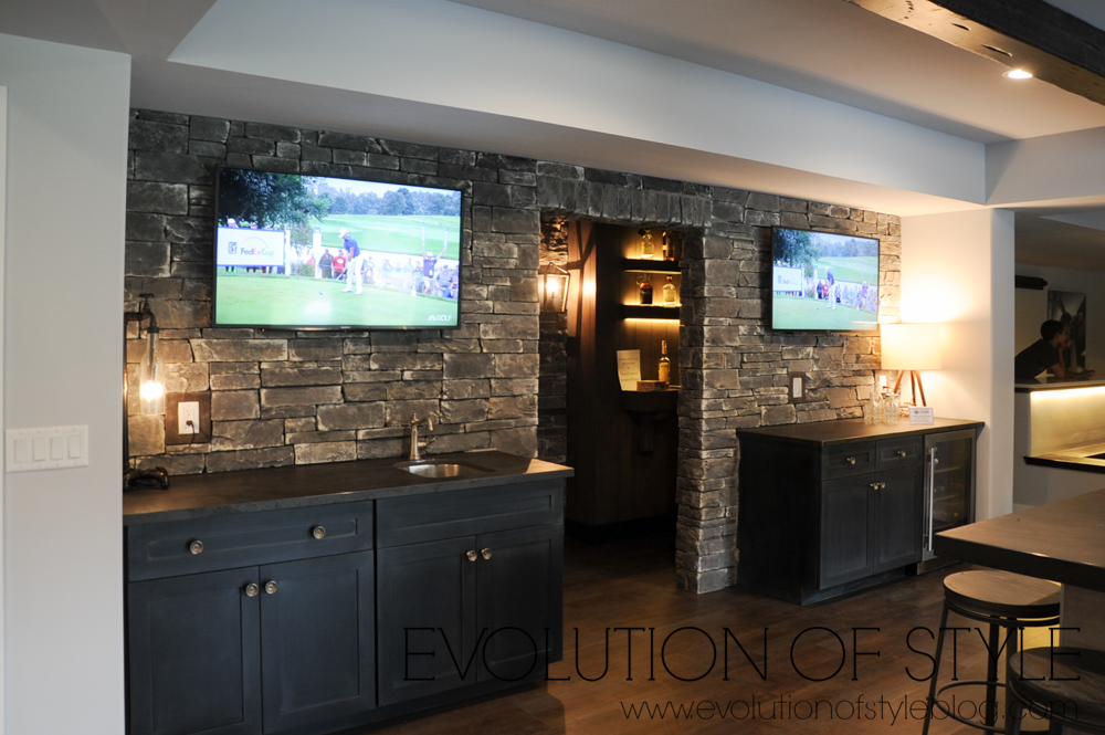 Stone wall bar area