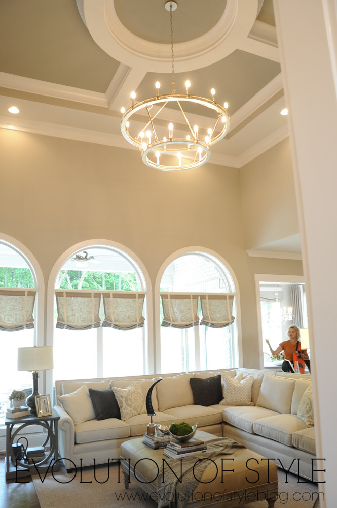 Large family room with chandelier