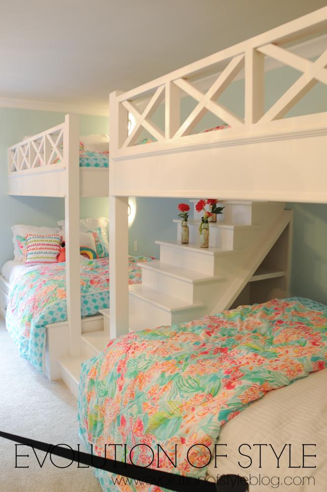 Built-in bunk beds girl's room