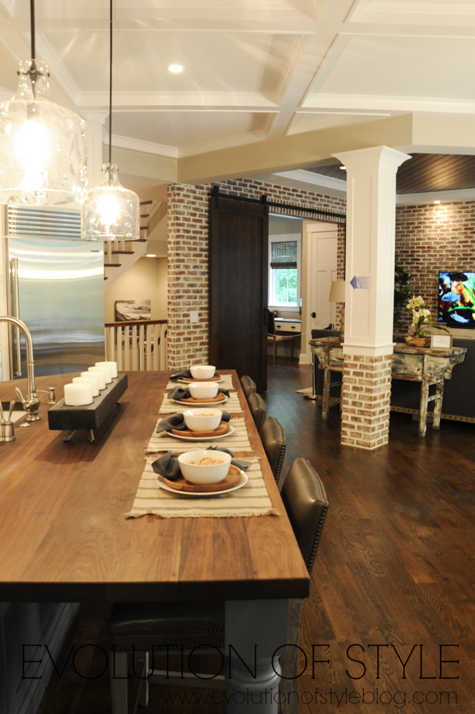 Dining Room with exposed brick