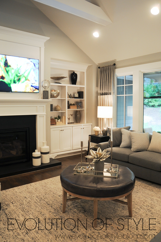 Great room with fireplace and built-ins
