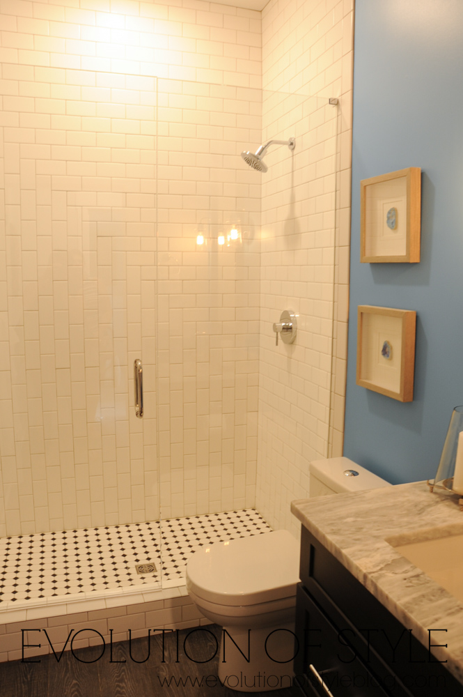 Bathroom with patterned subway tile