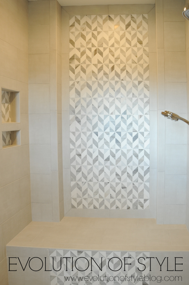 Master bathroom with tiled shower