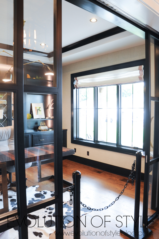 Office with glass paned pocket doors