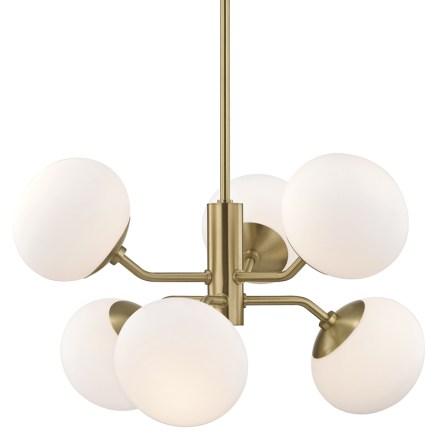 Six Light Aged Brass Chandelier