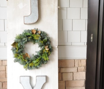 JOY Christmas Sign on Salvaged Door