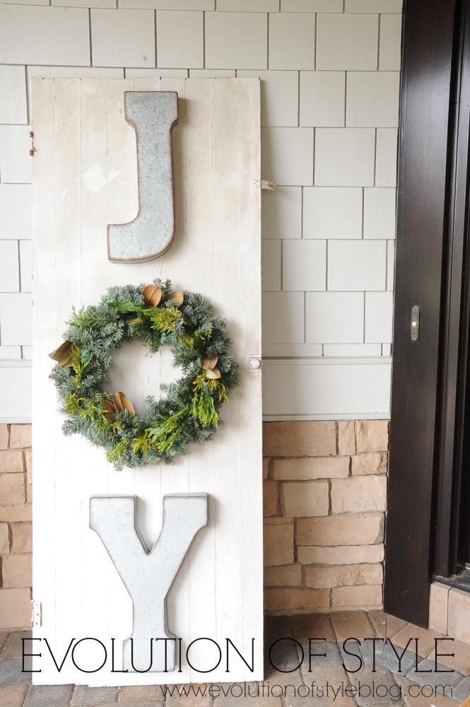 JOY Christmas Sign on Salvaged Door