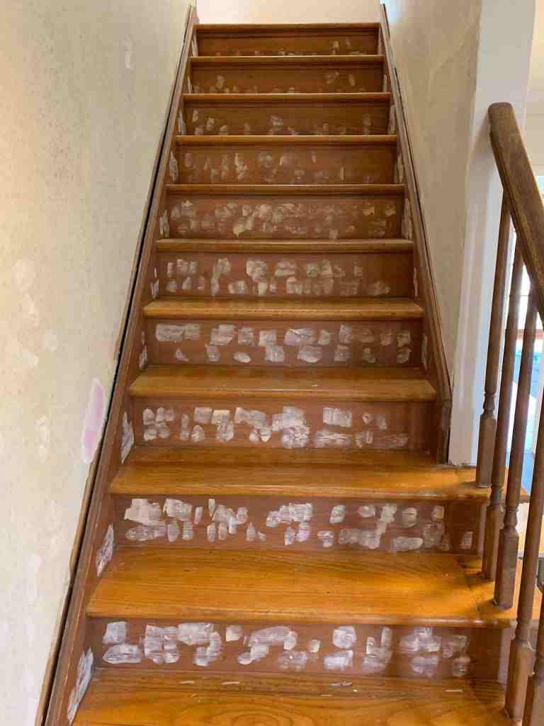 Wood Stairway Makeover Before