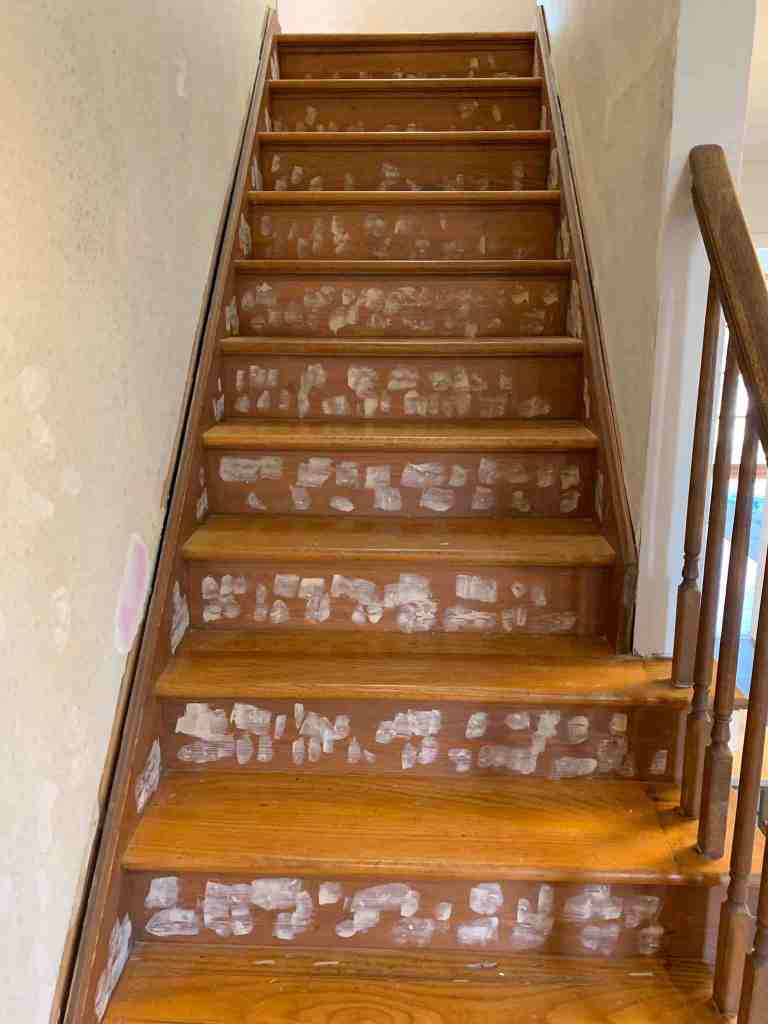 Wood Stairway Makeover Before