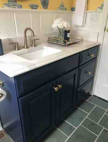 Navy Bathroom Vanity with Quartz Countertop
