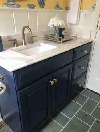 Navy Bathroom Vanity with Quartz Countertop