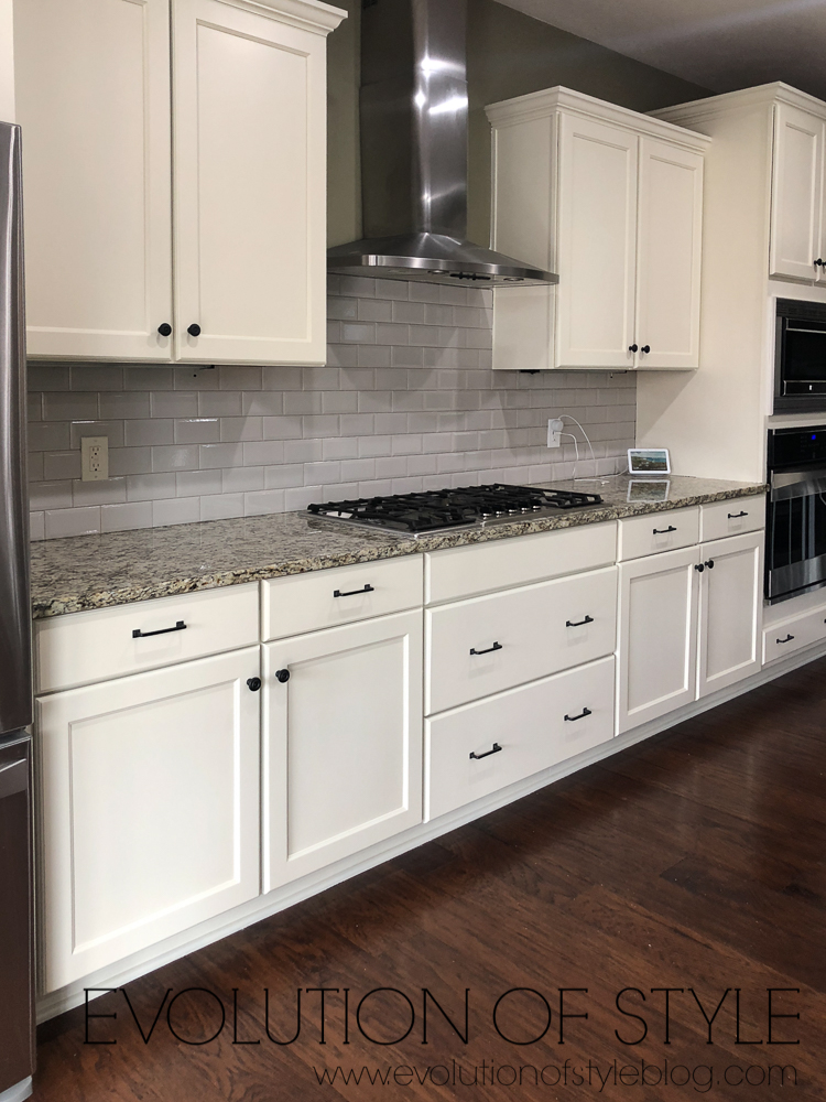 Grand Teton White Cabinets with Gray Subway Tile