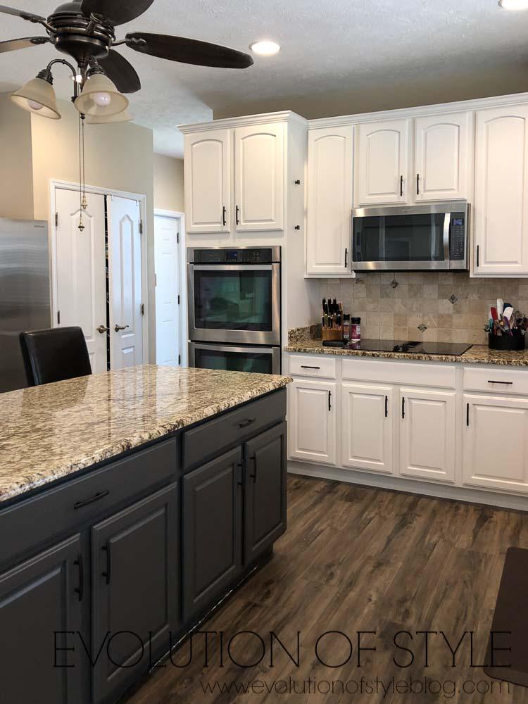 Urbane Bronze Kitchen Island with White Dove Cabinets