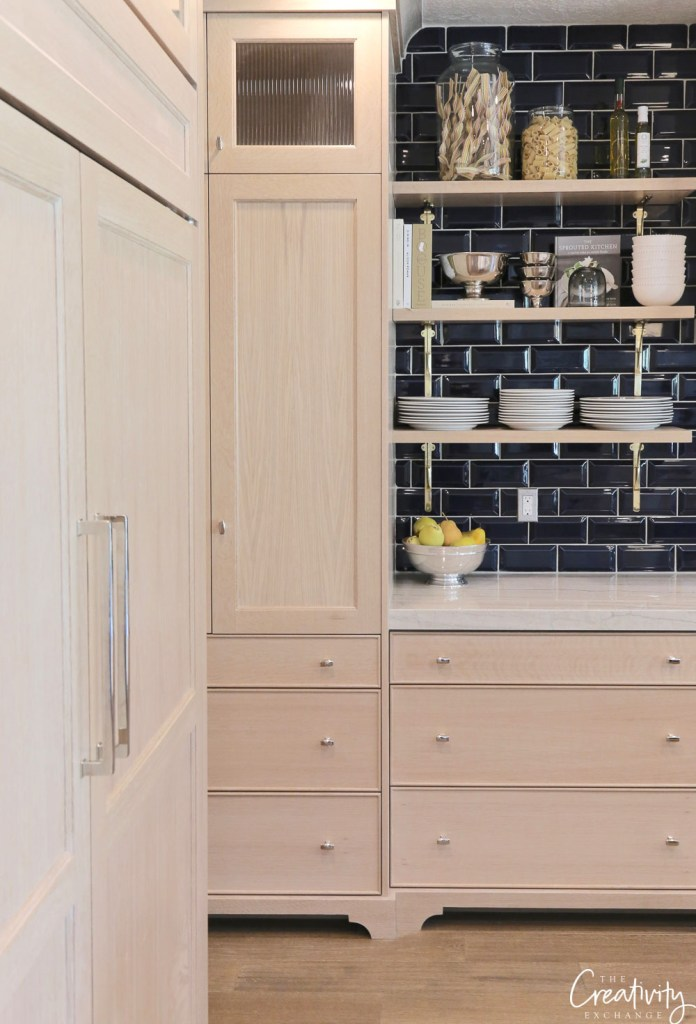 Subway Tile Ideas: Navy Subway Tile in Wood Toned Kitchen