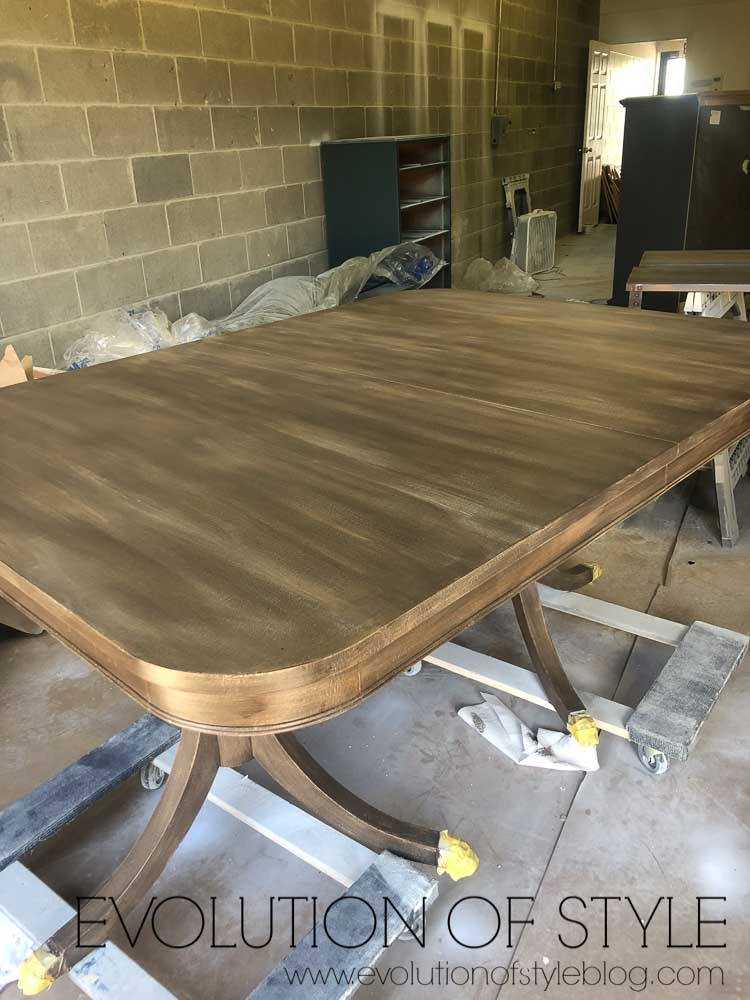 Dining Table Makeover with Faux Finished Wood Look