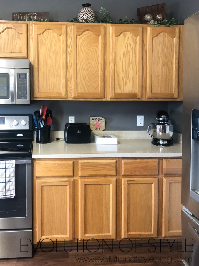 Before and After White Dove Painted Cabinets