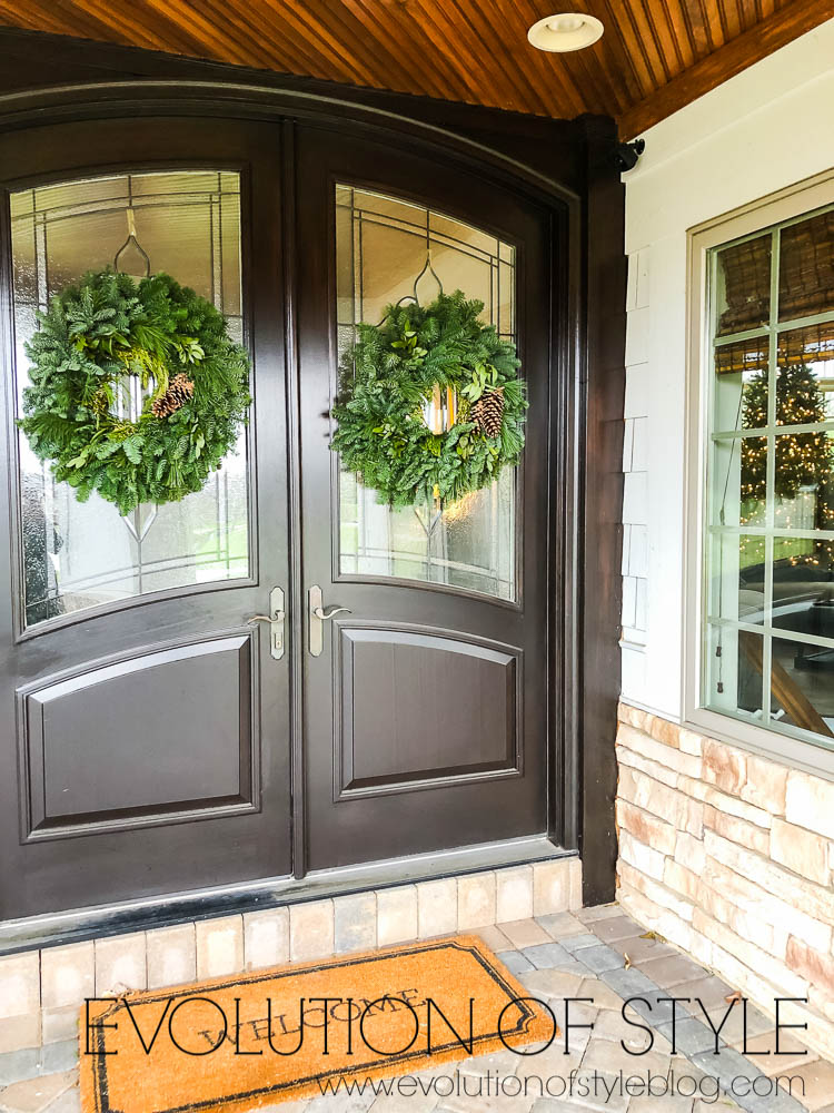 Double Front Doors with wreaths