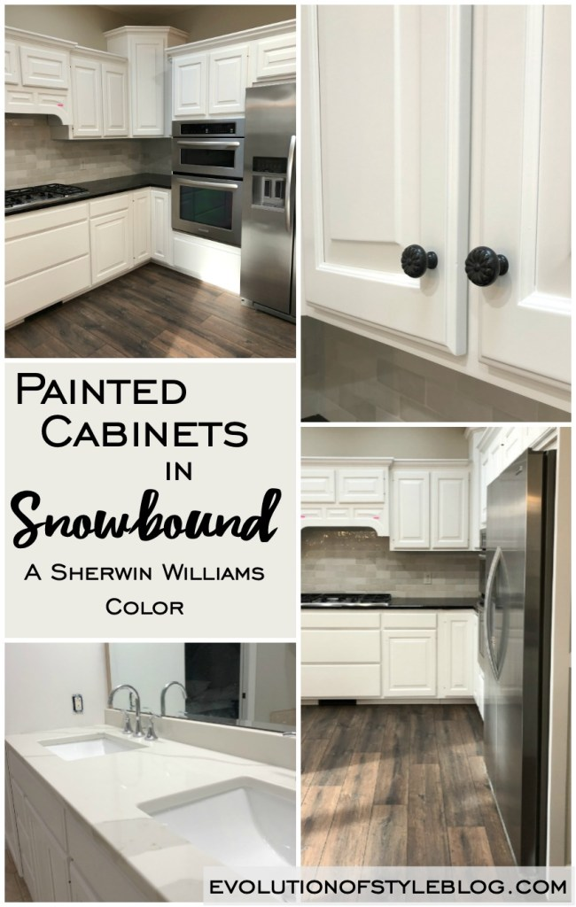 Before and After Cabinet Transformation in Sherwin Williams' Snowbound