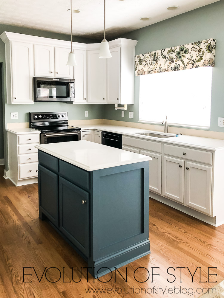 Painted Cabinets in Snowbound and Waterloo