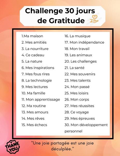 Challenge 30 jours Gratitude