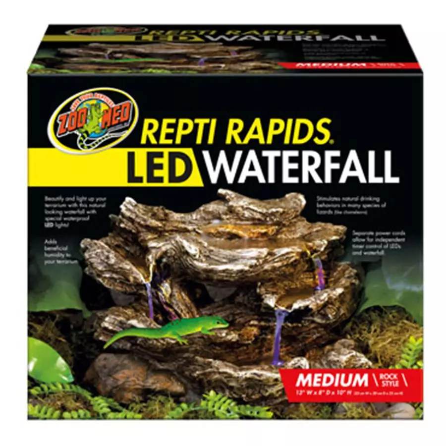 Zoomed Repti Rapids Led Waterfall Medium Rock Evolution