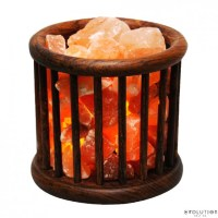 Wooden Basket Crystal Salt Lamp :: SHOP EVOLUTION SALT